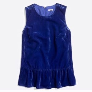 J. Crew Royal Blue Velvet Peplum Top